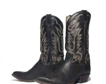 11.5 D | Men's Justin Western Black Pebbled Leather Cowboy Boots