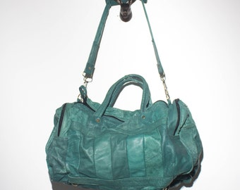 Teal Patchwork Leather Mini Duffle Bag