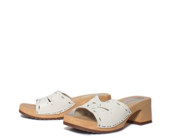 38 | 7 | Women's Platform Slide Sandals w/ White Cut Out Leather Straps by Leather Craft