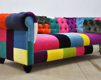 chesterfield patchwork sofa 1. Black Bedroom Furniture Sets. Home Design Ideas