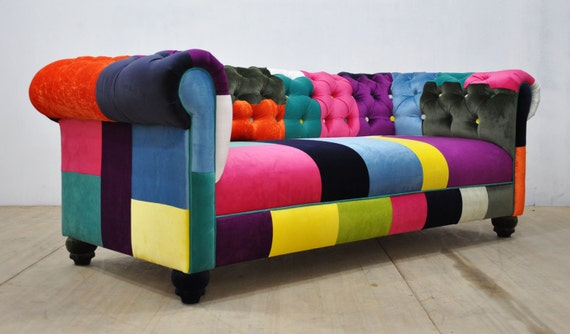 chesterfield patchwork sofa color waterfall. Black Bedroom Furniture Sets. Home Design Ideas