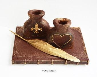 Personalized Pen Holder, Wooden pen holder, Rustic wedding  pen holder, Wedding pen holder, Office Decor,  Fleur De Lis wedding pen holder