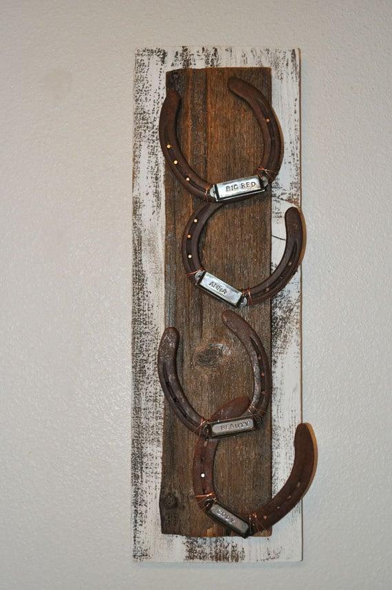 Horse memorial horseshoe art Cowboy gift ranch art western