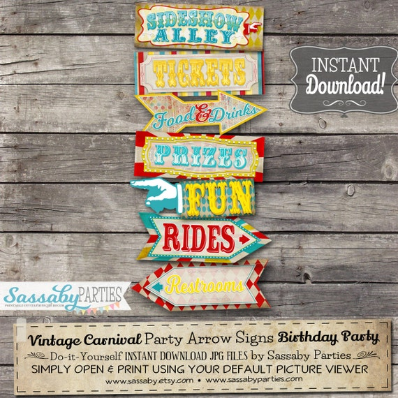 Vintage Carnival Party Arrow Signs Posters