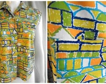 Vintage 1950's Cotton Print Blouse MCM Color Block Orange Lime Multi 42 Bust