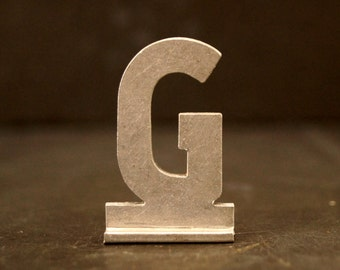 """Vintage Metal Sign Letter """"G"""" with Base, 1-13/16 inches tall (c.1950s) - Industrial Decor, Art Supply, Typography"""