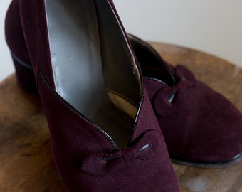 1940s Burgundy suede shoes 6.5