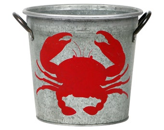 SALE! Crab Coastal Storage Bucket, Red