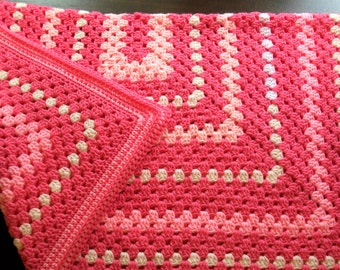 Perfectly Pink Baby Blanket - Rectangle Granny Square Blanket in Two Shades of Pink with White