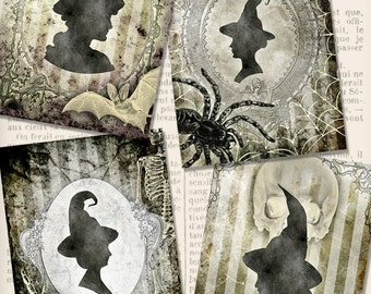 Witch Silhouette Cards 3.5 x 5 inch printable halloween cards paper crafting instant digital download digital collage sheet - VDCAHA1421