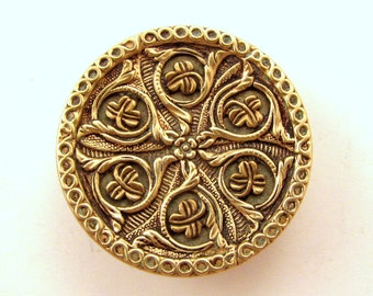 """Antique  Brass Twinkle Button with Fancy Clover / Stylized Plant Design - Medium 1 1/8"""""""