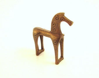 SALE Cast Bronze Horse Brooch / Geometric Period Replica Jewelry / Ancient Greece / Etruscan / Laconian Style - Animal Figural Pin