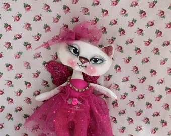 OOAK cat doll, cat cloth doll , Angel /Fairy  Cat , Valentine Gift ,Hand painted cat  ,White cat doll , Whimsical cat doll , Fairy cat .