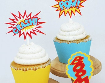 Super Hero Pow Crash Boom Cupcake Toppers In Your Choice of Color Qty 12