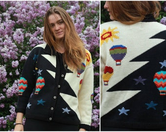 Vintage 1980s // Hot Air Balloon Day & Night Knit Cardigan // M/L