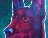 Belgian Malinois, Pet Portrait, DawgArt, Dog Art, Pet Portrait Artist, Colorful Pet Portrait, Belgian Malinois Art, Art Prints