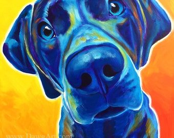 Weimaraner, Pet Portrait, DawgArt, Dog Art, Pet Portrait Artist, Colorful Pet Portrait, Weimaraner Art, Pet Portrait Painting, Art Prints