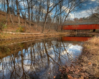 Frankenfield Covered Bridge in Autumn, Landscape Photograph, Reflection, Bucks County, Pennsylvania, River, Home Decor, Red, Art Print