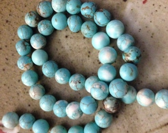 8mm round blue and white Magnesite stone beads, jewelry destash, supplies, craft beads