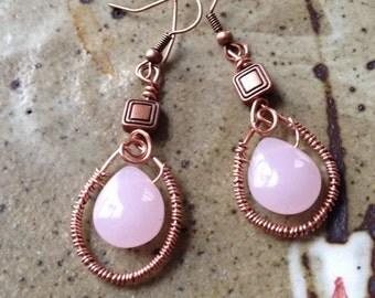 Handmade copper wire wrapped pink tear drop earrings
