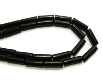 Black Howlite - Tube Cylinder or Column Bead - 4mm x 13mm - 30 beads - Full Strand - Synthetic Turquoise