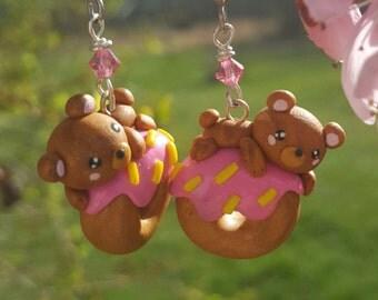 Kawaii Bear Donut Earrings