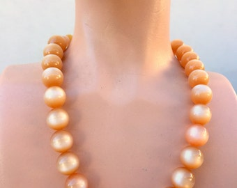 Moon Glow Choker Necklace Petite Peach Beads