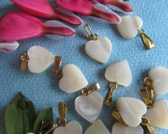 8 Mother Of Pearl Hearts