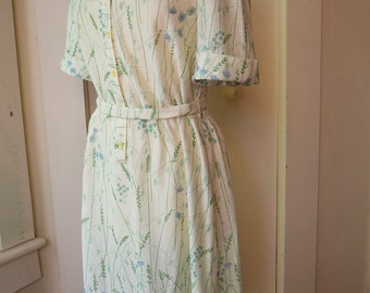1970s Floral Shirt Dress Day Dress Boho Hippie  Midi Dress