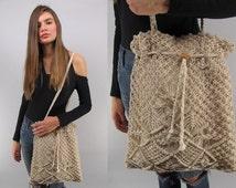 Vintage 70s Macrame Pouch Purse, Shoulder Purse, Bohemian Bag, Hippie Bag, Boho Macrame Purse