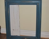 Large Rustic Chunky Wood Open Frame Vintage Up Cycled in Distressed Turquoise / Teal Blue