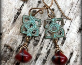 Patina Brass and Red-Swirled Drop Earrings by Warped Wire Studio