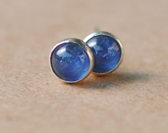 Deep Blue Sapphire Earrings with Sterling Silver Studs. 5mm Cabochon Gemstones