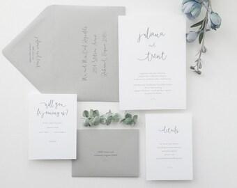 Classic Wedding Invitation Sample - Juliana | Script Wedding Invites | Calligraphy Wedding Invitations | Romantic Wedding | Gray Wedding