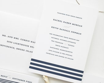Nautical Wedding Invitation Sample - Rachel | Navy Wedding Invitations | Blue Wedding Invites | Striped Invitations