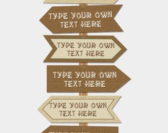 Printable Camping Signs - Direction Arrows - INSTANT DOWNLOAD with EDITABLE text - Pdf file - you personalize at home - comes in 2 sizes