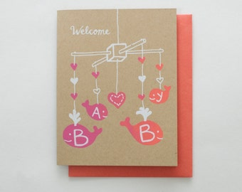 Welcome Baby - new baby screen print card | pink