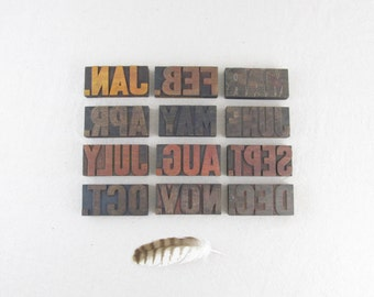 letterpress printers blocks, antique wood type, CALENDAR SET, calendar months, bold font circa 1920