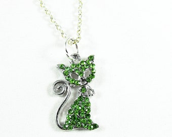 Silver Pendant Necklace,   Kitty Necklace With Micro Pave Green Rhinestones  Womens Gift  Handmade