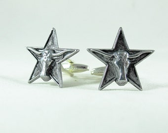 Mens Cufflinks,   Silver Texas Star And Steer  Mens Accessories Handmade