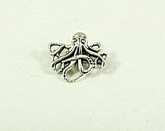 Silver Brooch Pin Or Lapel Pin,   Silver Octopus Mens Womens Gift Handmade