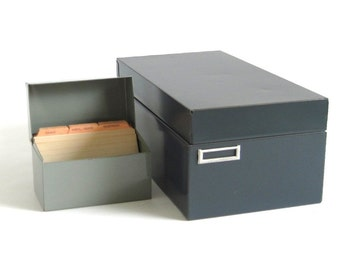 Metal Recipe Card Boxes 4 x 6 or 3 x 5 Gray File Box Organizer with Tabbed Recipe Card Dividers Steelmaster Ohio Art Recipe File Box