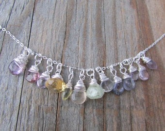 Rainbow Gemstone Necklace, mixed gems, wire wrapped, silver necklace, pastel mixed stones