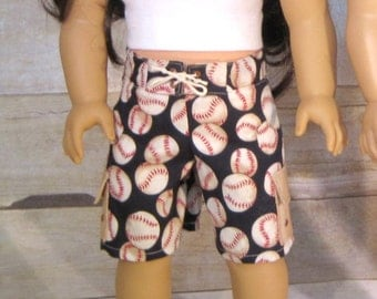 18 inch doll swim trunk and tank - baseball print for girl or boy doll