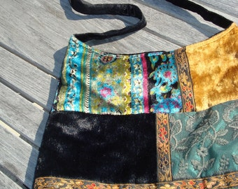 Velvet patchwork tote