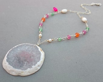 White Agate Druzy Necklace with Pink Sapphire, Carnelian, Jade, Chalcedony, Pearl, Sterling Silver and Gold Fill