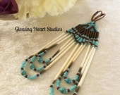 Porcupine Quill Earrings - turquoise gemstone beaded North American tribal jewelry