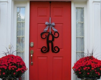 Monogram Wreath - Front Door Wreath - Monogram Decoration - Couples Gift - Choose Bow