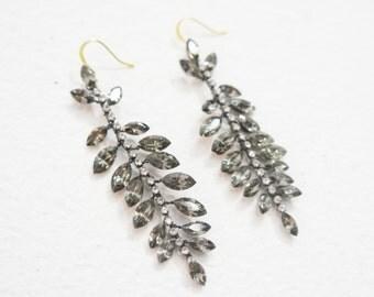Crystal Earrings, Crystal Dangle Earrings, Crystal Drop Earrings, Gunmetal Earrings, Black Crystal Earrings, Crystal Chandelier Earrings