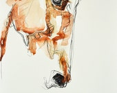 Horse Head, Animal, Modern Original Fine Art, Watercolor and Black Chalk Drawing of a Horse